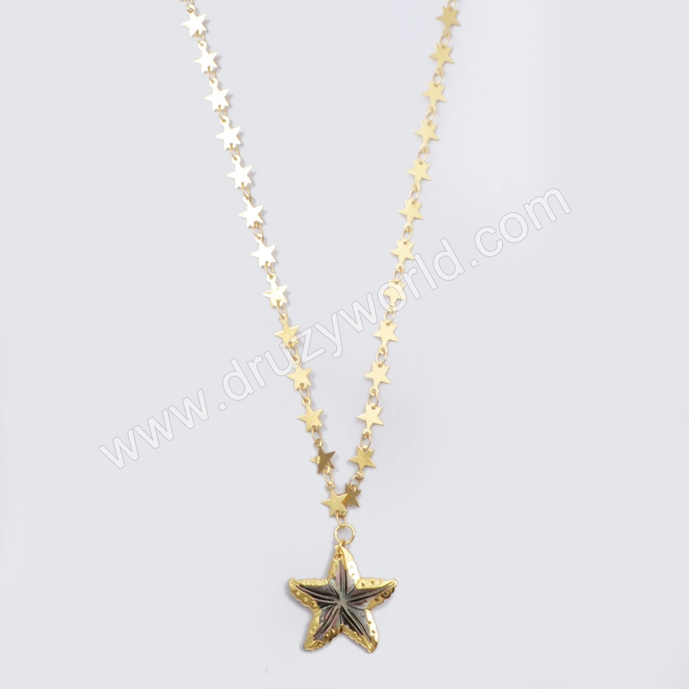 Gold Plated Rainbow Shell Starfish Necklace G1628-N