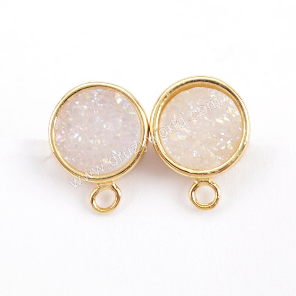 Round Gold Plated Natural Agate Titanium Rainbow Druzy Stud Charm ZG0260