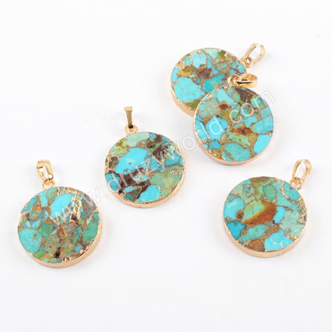 Gold Plated Copper Turquoise Round Pendant G1686