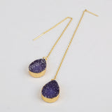 Gold Plated Teardrop Titanium Rainbow Druzy Threader Earrings G1242