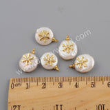 Gold Plated CZ Micro Pave White Shell Pendant WX1115