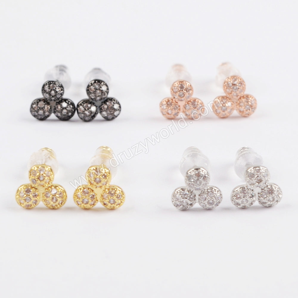 CZ Micro Pave Tiny Round Earrings WX710
