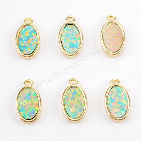 Oval Gold Plated Blue Opal Bezel Charm Pendant Bead ZG0264