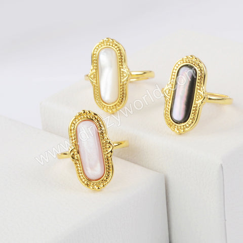 Natural Shell Ring Gold Plated WX1420