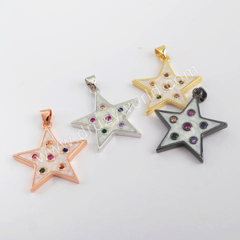 Spray Painted Micro Setting Star Pendant WX1229