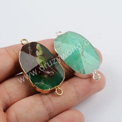 Natural Australia Jade Faceted Connector Trendy Jewelry Silver Plated S1865