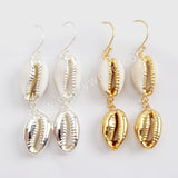 18K Gold Plated Boho Double Cowrie Shell Dangle Earrings For Women G1629