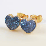 Heart Gold Plated Natural Agate Titanium Rainbow Druzy Stud Earrings G1328