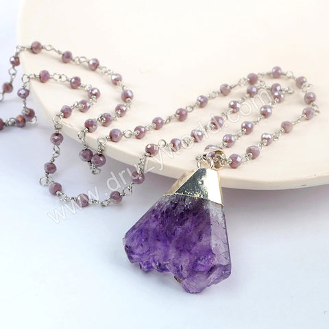 Silver Natural Amethyst Long Beaded Chain Necklace HD0236