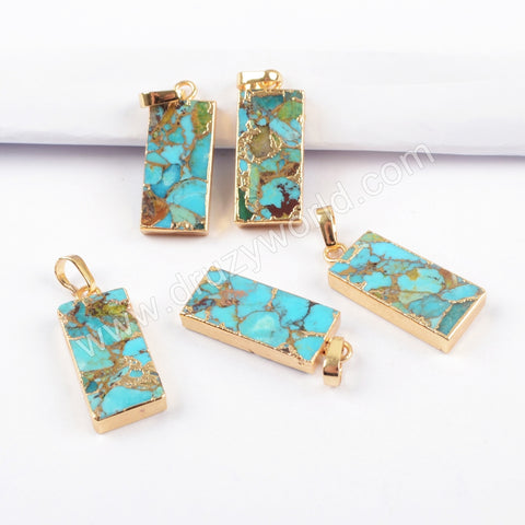Gold Plated Copper Turquoise Rectangle Pendant G1687