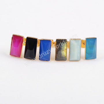 Rectangle Gold Plated Multi-kind Stone Faceted Stud Earrings G1298