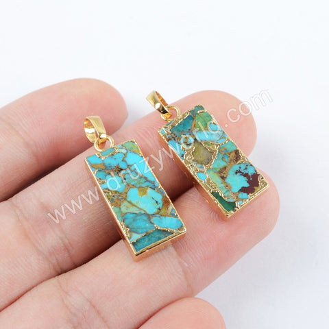 Copper Turquoise Pendant Charm For Women Jewelry Making Silver Plated S1687