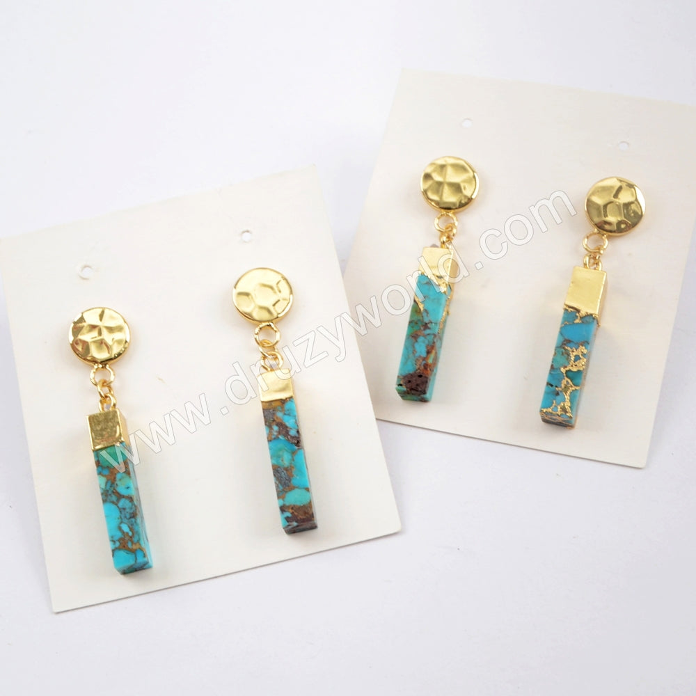 18K Gold Plated Copper Turquoise Cuboid Bar With Gold Coin Stud Earrings G1630