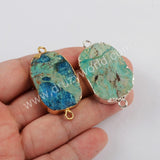 Natural Chrysocolla Stone Connector Women Jewelry Silver Plated S1810