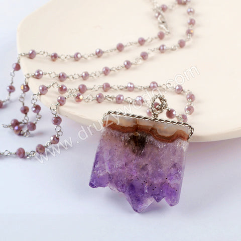 Silver Druzy Agate Slice Amethyst Beaded Chain Necklace HD0237