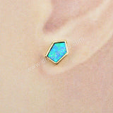 Gold Plated Bezel Shield Blue Opal Studs ZG0228