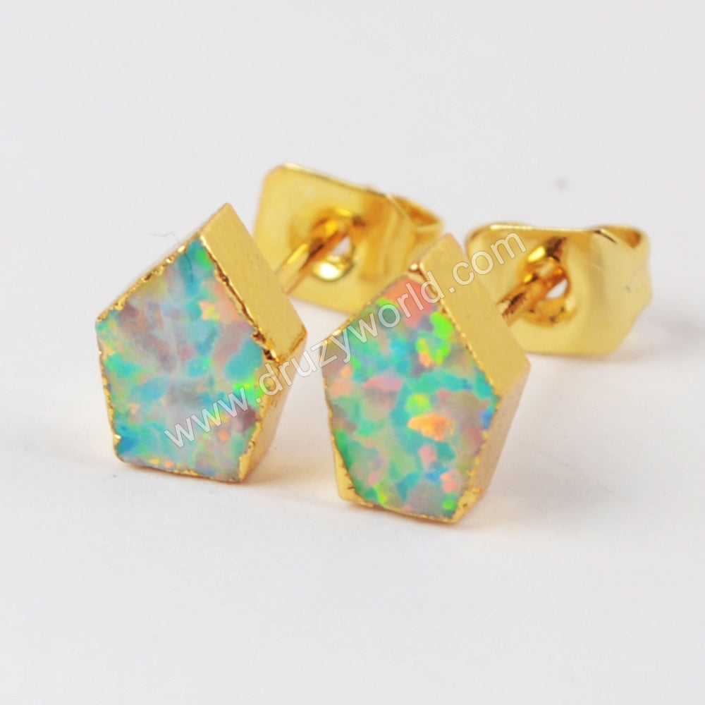 Gold Plated Shield White Opal Studs G1419