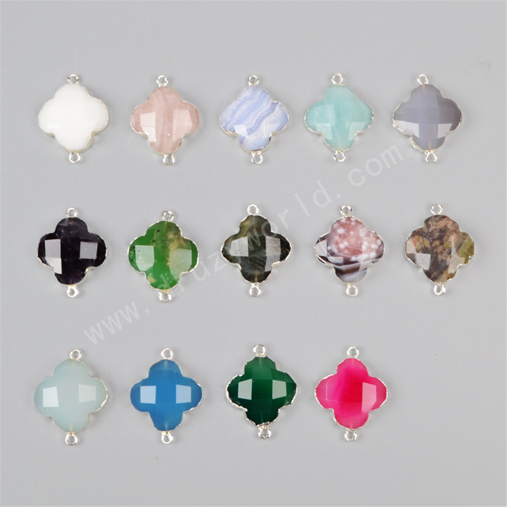 925 Sterling Silver Clover Natural Rose Quartz Connector SS146