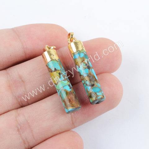 Gold Plated Copper Turquoise Cylinder Pendant G1688