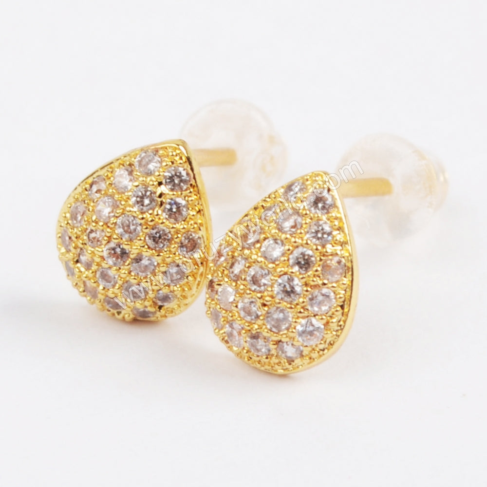 CZ Micro Pave Tiny Drop Earrings WX711