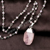 Silver Natural Rose Quartz Beaded Chain Necklace HD0238