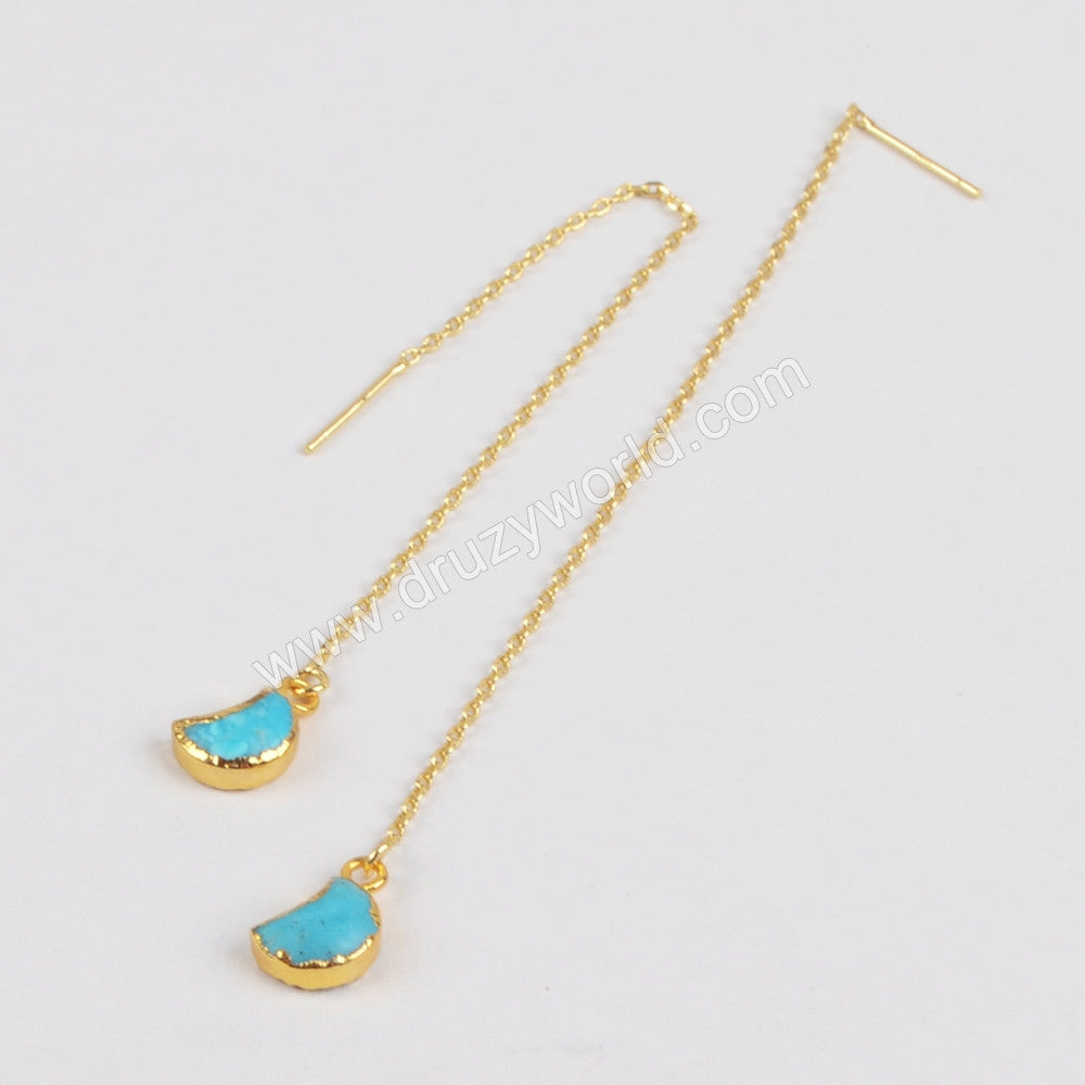 Gold Plated Natural Turquoise Moon Threader Earrings G1244