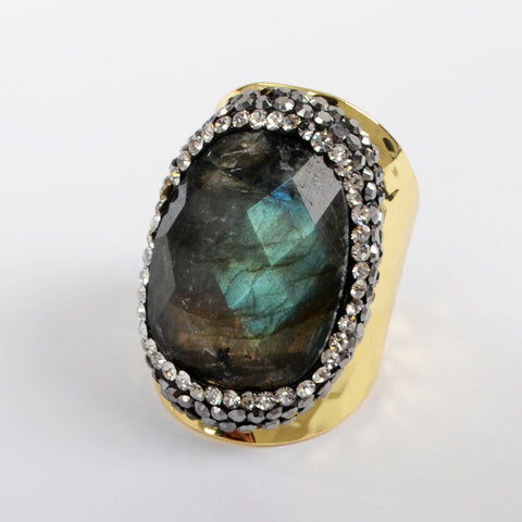 9.0 Large Size Stainless Steel Gold Labradorite Ring