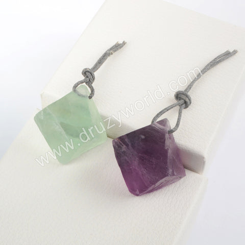 Natural Green/Purple Fluorite Stones  Pendant Beads with Rope WX1566