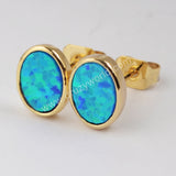 Gold Plated Bezel Oval Blue Opal Studs ZG0229