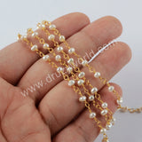 Natural Pearl Rosary Chains In Gold Plated Jewelry JT271