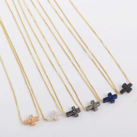 Rainbow Cross Shape Titanium Raw Druzy Adjustable Necklace Gift For Her G1890