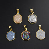 Rainbow Plated and Sivler Plated Polygon Facted Druzy Gold Edge Pendant WX056