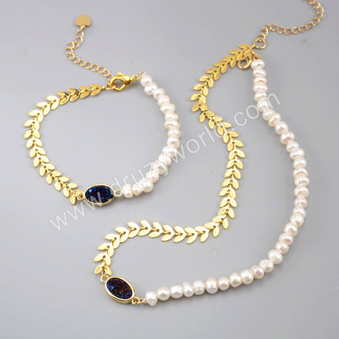 Natural Agate Titanium Druzy Pearl Beads Bracelet Necklace Set Gold Plated HD0240