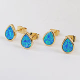Gold Plated Bezel Teardrop Blue Opal Studs ZG0230