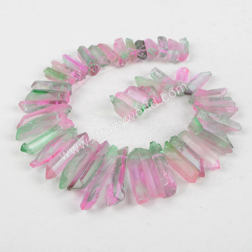 Dyed Rainbow Colors Natural Crystal Point Loose Bead LS017