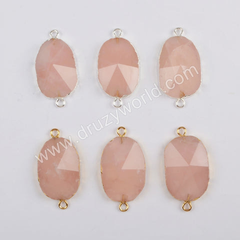 Gold Plated Rose Quartz Facted Connector G1812/S1812