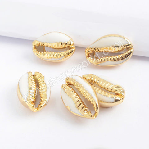 Gold Plated Cowrie Shell Bead Undrilled G1690