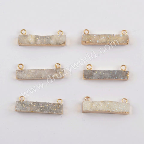 White Opal Aura Druzy Bar Connector CL266