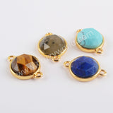 Natural Multi-kind Stones Gold Connector Gold Plated WX1291