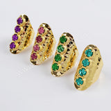 Gold Plated Prong Set Four Round Titanium Aqua Blue Druzy Boho Band Ring ZG0351