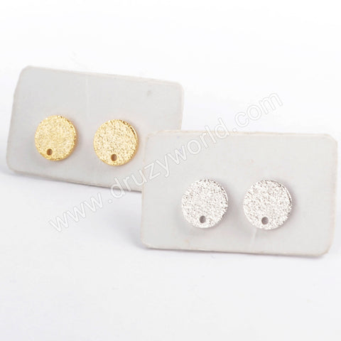 Gold/Silver Plated 8mm Matte Round Post With Hole PJ172