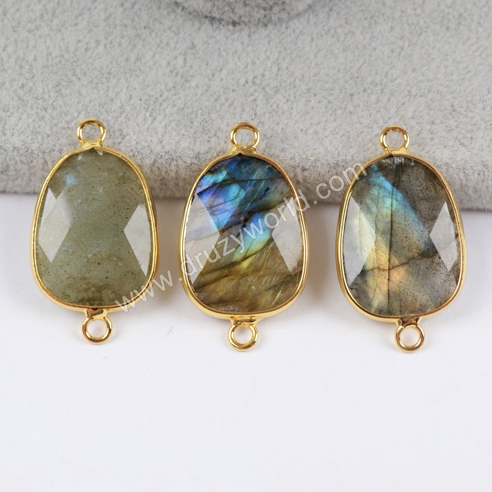 Gold Plated Labradorite Faceted Polished Connector G1404