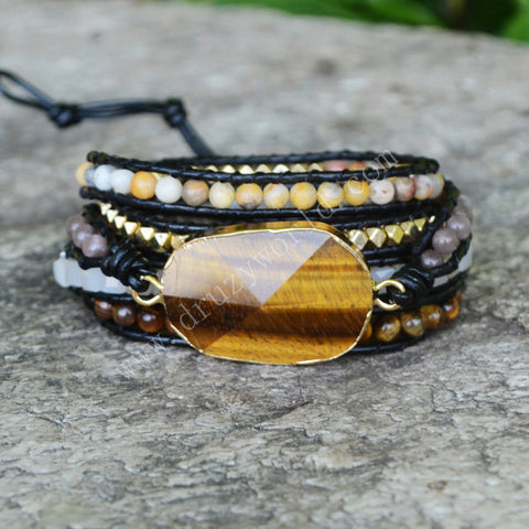Strands Gold Tiger Eyes Gemstone Bead Black Wrap Bracelet HD0081