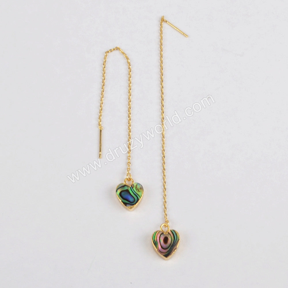 Gold Plated Abalone Shell Heart Threader Earrings G1246