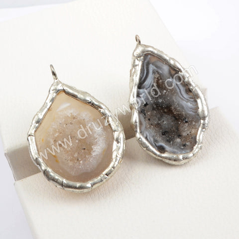 Silver Natural Agate Druzy Charm WX1568