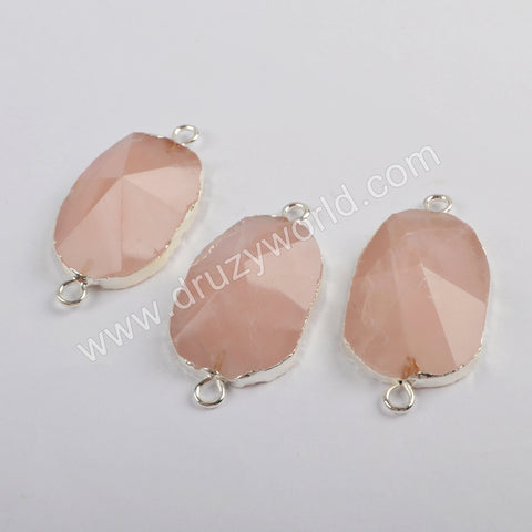 Rose Quartz Faceted Connector DIY Jewelry Silver Plated S1812