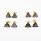 Labradorite Earrings Gold Plated Crystal Stone Jewelry Gift For Women G1300