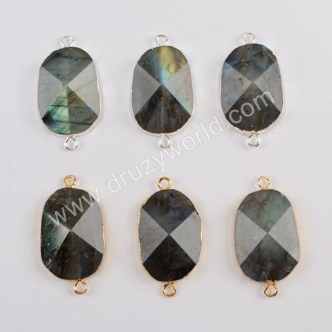Gold Plated Natural Labradorite Facted Connector G1813/S1813