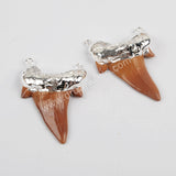 Shark Teeth  Brown Resin Connector Double Bails Gold Plated G1331