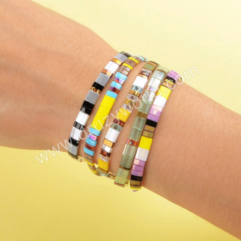Wholesale Fashion Aautumn Jewelry Tila Rainbow Beaded Bracelet Gift For Her HD0113